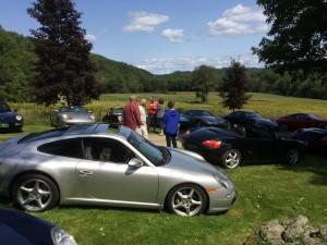 Porsches & a few mems great view